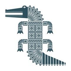 Тёмно-синее изолированное графическое декоративное изображение крокодила с геометрическими узорами из треугольников и квадратов.