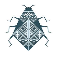 Тёмно-синее изолированное графическое декоративное изображение жука с геометрическими узорами из треугольников и квадратов.
