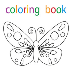 book coloring cartoon butterfly character isolated