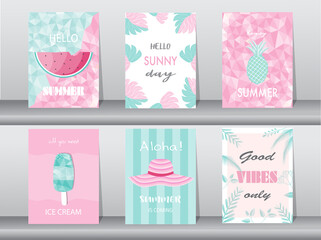 Set of summer card on pattern design,poster,template,greeting,cards,fruits,polygon,Vector illustrations