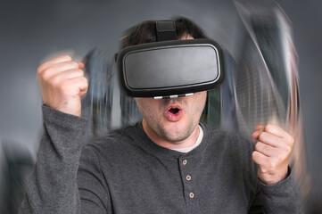 Man using virtual reality headset glasses
