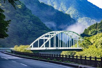 新緑の山と橋
