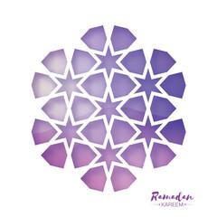 Ramadan Kareem Greeting card . Purple Origami Arabesque Mosque Window. Arabic Ornamental pattern in paper cut style.Holy month of muslim. Vector