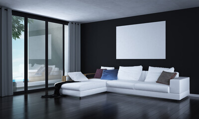 Modern living room and lounge interior design and sea view