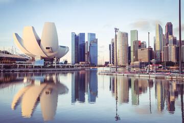 Singapore skyline at the Marina during twilight, View of Marina Bay in Singapore cityscape, Singapore