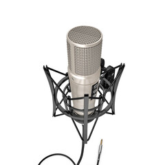 Classic Studio Microphone on white. 3D illustration
