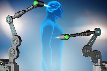 Future medicine concept with robotic arms
