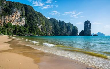 Amazing view of beautiful beach. Location: Krabi province, Thailand, Andaman Sea. Artistic picture. Beauty world.