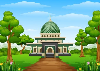 Islamic mosque building with green dome in the forest