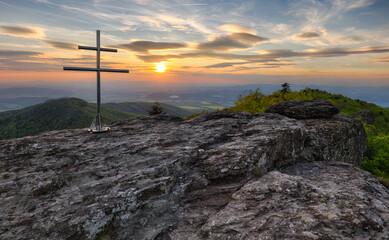 Fototapete - Mountain dramatic sunset panorama in peak Buchlov, Vtacnik