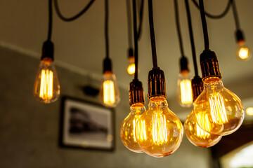 Decorative antique light bulbs in coffee shop