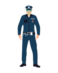Policeman flat icon. Service 911. Cartoon Vector illustration