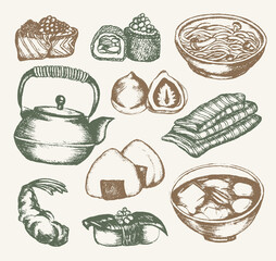 Japanese Food - color hand drawn illustrative composition.