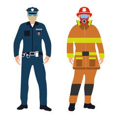 Policeman and Fireman cartoon icon. Service 911.