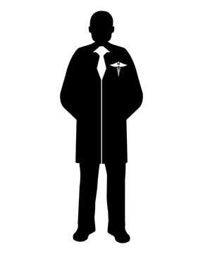 Doctor flat icon. Service 911. Silhouette Vector illustration