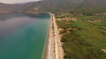 Aerial drone photo of Psatha beach in Attica, Greece