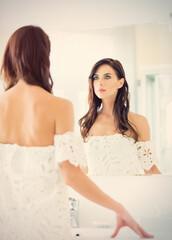 youn woman near mirror