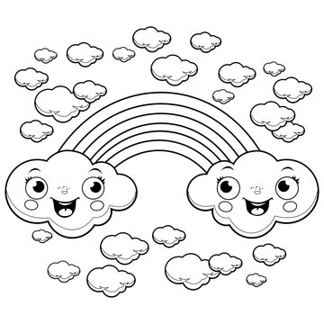 A rainbow and clouds in the sky. Black and white coloring page illustration