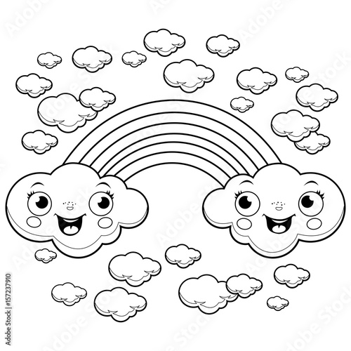 A rainbow and clouds in the sky. Black and white coloring page ...