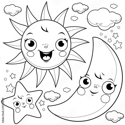 Cute Unicorn Flying In The Night Sky Black And White Coloring Book Page Stock Image Royalty Free Vector Files On Fotolia