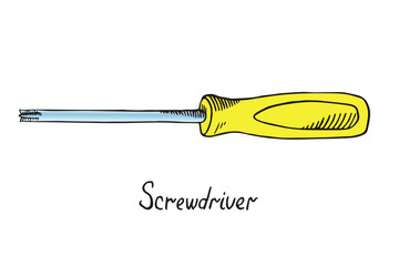 Screwdriver (crosshead), hand drawn doodle sketch in pop art style, vector color illustration