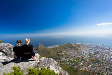 Two young women on top of Table Mountain, Cape town