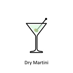 Dry Martini cocktail icon in flat style