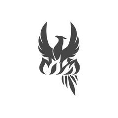 Stylized graphic phoenix bird