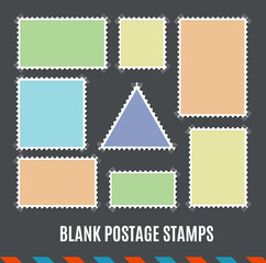 Empty Template Blank Postage Stamps Set. Vector