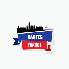 Wall Mural - Nantes skyline ribbon banner