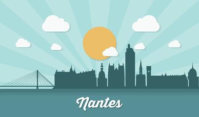 Printed kitchen splashbacks Light blue Nantes skyline