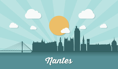 Fototapete - Nantes skyline