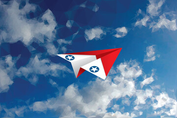 vector abstract background with low poly cloudy sky and red and white paper plane with USAF star