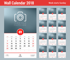 Wall Calendar Template for 2018 Year. Vector Design Template with Place for Photo. Week starts on Sunday