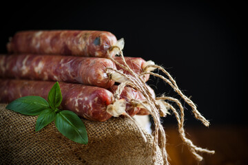 Raw organic homemade sausage made from natural meat