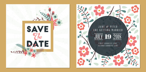 Save the date. Wedding invitation double-sided card design template. Stationery design. Vector illustration