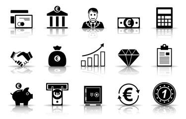 Banken & Finanzen Iconset - Schwarz (Schatten)