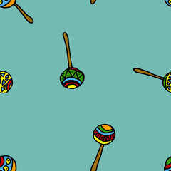 Cartoon seamless vector maracas pattern