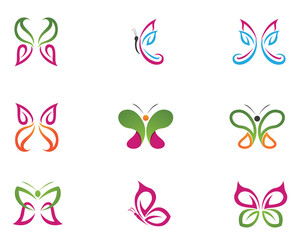 Butterfly conceptual simple, colorful icon. Logo. Vector illustration