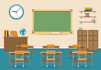 Empty classroom vector illustration. Nobody school class room interior with blackboard
