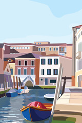 Boats on the shore in Venice. Scenic old streets Italian Lagoon. Vector illustration