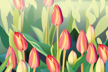 Red tulip flowers Spring season invitation background. Vector illustration