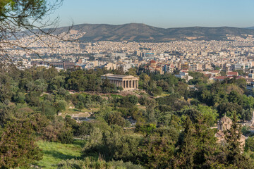 Temple of Hephaestus in the ancient agora, in the park under the hill of the Acropolis in Athens, Greece