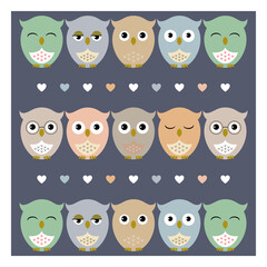 Owls. Vector illustration with cute owls with hearts on dark background