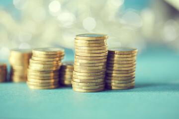 stacks of golden coins (euros)