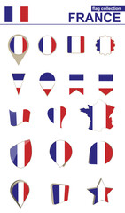 France Flag Collection. Big set for design.