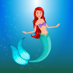 Sweet mermaid. Isolated vector object.