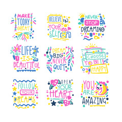 Short possitive messages, inspirational quotes colorful hand drawn vector Illustrations