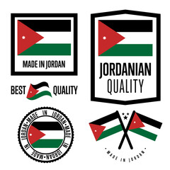 Jordan quality isolated label set for goods. Exporting stamp with jordanian flag, nation manufacturer certificate element, country product vector emblem. Made in Jordan badge collection.