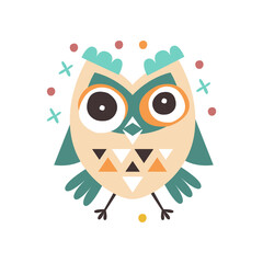 Cute cartoon dizziness owl bird colorful character vector Illustration